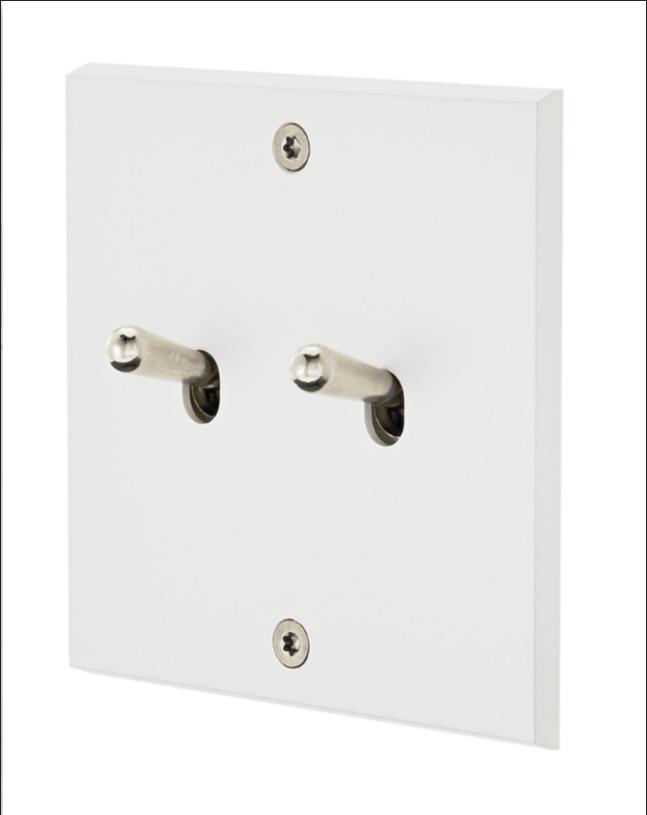 Белый матовый 2-тумблерный выключатель стальной